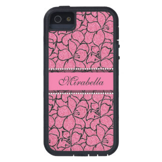 Lush Pink Lilies with black outline, pink glitter iPhone 5 Case
