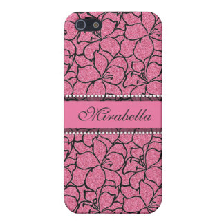 Lush Pink Lilies with black outline, pink glitter iPhone 5 Covers