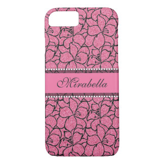 Lush Pink Lilies with black outline,  pink glitter iPhone 8/7 Case
