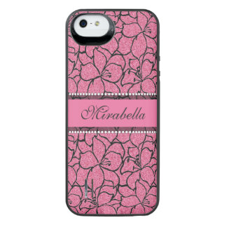Lush Pink Lilies with black outline, pink glitter iPhone SE/5/5s Battery Case