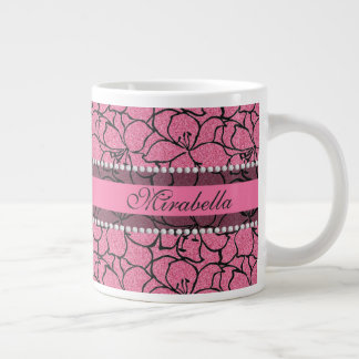 Lush Pink Lilies with black outline, pink glitter Large Coffee Mug
