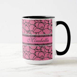 Lush Pink Lilies with black outline, pink glitter Mug