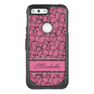 Lush Pink Lilies with black outline, pink glitter OtterBox Commuter Google Pixel Case