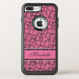Lush Pink Lilies with black outline, pink glitter OtterBox Commuter iPhone 8 Plus/7 Plus Case