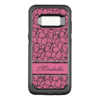 Lush Pink Lilies with black outline, pink glitter OtterBox Commuter Samsung Galaxy S8 Case