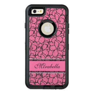 Lush Pink Lilies with black outline, pink glitter OtterBox Defender iPhone Case