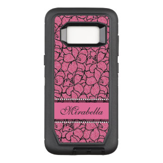 Lush Pink Lilies with black outline, pink glitter OtterBox Defender Samsung Galaxy S8 Case