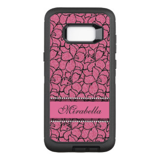 Lush Pink Lilies with black outline, pink glitter OtterBox Defender Samsung Galaxy S8+ Case