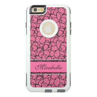 Lush Pink Lilies with black outline, pink glitter OtterBox iPhone 6/6s Plus Case