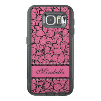 Lush Pink Lilies with black outline, pink glitter OtterBox Samsung Galaxy S6 Case
