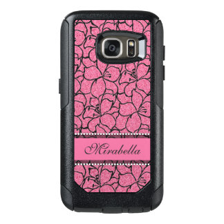 Lush Pink Lilies with black outline, pink glitter OtterBox Samsung Galaxy S7 Case