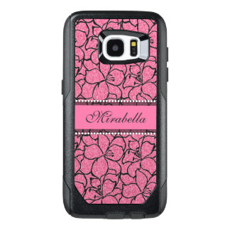 Lush Pink Lilies with black outline, pink glitter OtterBox Samsung Galaxy S7 Edge Case