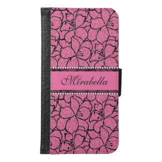 Lush Pink Lilies with black outline, pink glitter Samsung Galaxy S6 Wallet Case