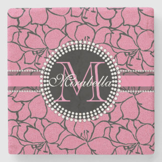 Lush Pink Lilies with black outline, pink glitter Stone Coaster