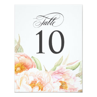Lush Pink Peonies Floral Table Number Card