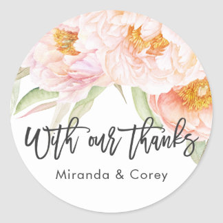 Lush Pink Peonies Floral Thank You Round Sticker