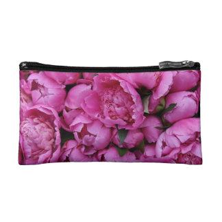Lush Pink Peony Flowers Makeup Bag