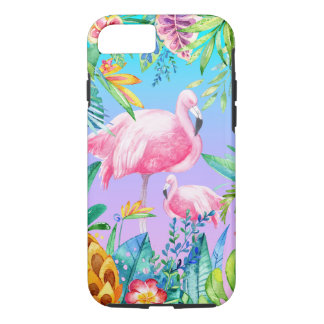 Lush Tropical Flowers Pink Flamingos iPhone 8/7 Case