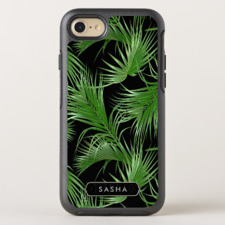 Lush Tropical Palm Pattern with Name or Monogram OtterBox Symmetry iPhone 8/7 Case