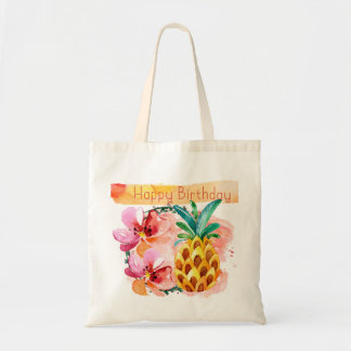 Lush Watercolor Tropical Happy Birthday Tote Bag