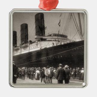 Lusitania Arrives New York City 1907 Silver-Colored Square Ornament