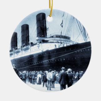 Lusitania Docked in New York City Blue Tone Round Ceramic Ornament