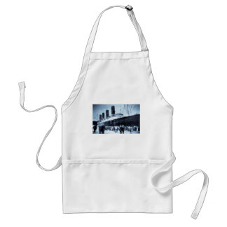 Lusitania Docked in New York City Blue Tone Standard Apron