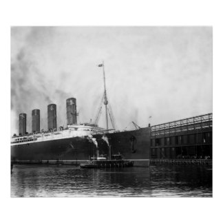 Lusitania Docking Poster