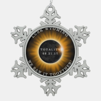 Lusk Wyoming Solar Eclipse Memorabilia Snowflake Snowflake Pewter Christmas Ornament