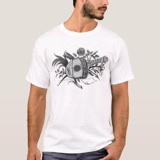Luth noir et blanc et plantes graphiques t-shirt