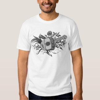 Luth noir et blanc et plantes graphiques tshirts