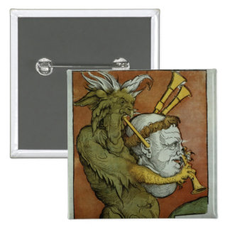 Luther as the Devil's Bagpipes, c.1535 2 Inch Square Button