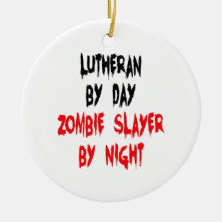 Lutheran Zombie Slayer Round Ceramic Ornament