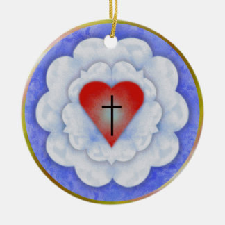 Luther's Rose Round Ceramic Ornament