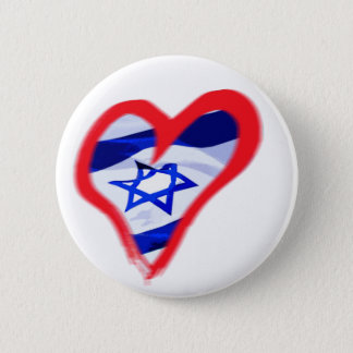 Luv Israel Heart 2 Inch Round Button