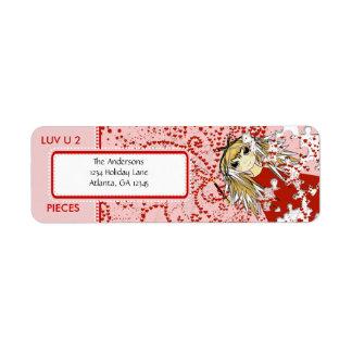 LUV U 2 Pieces  Return Address Return Address Label