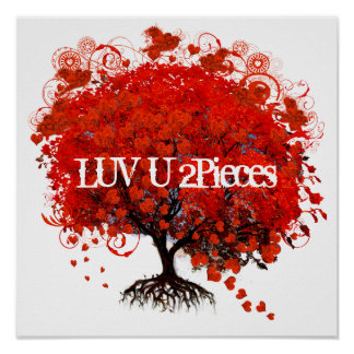 Luv U 2 Pieces Roots Puzzle Pieces Red Tree Poster