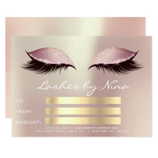 Lux Lashes Pink Rose Gold Makeup Certificate Gift1 Card