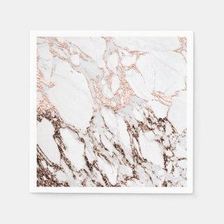 Lux Rose Gold Metallic White Gray Marble Party Paper Napkin