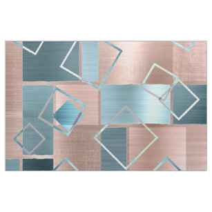 Luxe Abstract   Blush Rose Gold and Teal Geometric Fabric