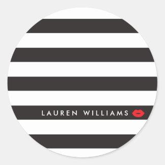 Luxe Black/White Stripes Red Lips Makeup Artist Round Sticker