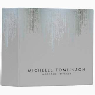 Luxe Blue Silver Confetti Rain Pattern Binders