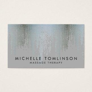 Luxe Blue Silver Confetti Rain Pattern Business Card