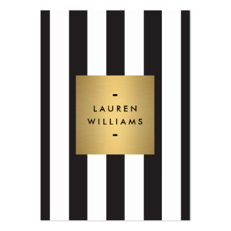 Luxe Bold Black and White Stripes Gold Box Large Large Business Card