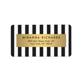 Luxe Bold Black and White Stripes with Gold Bar