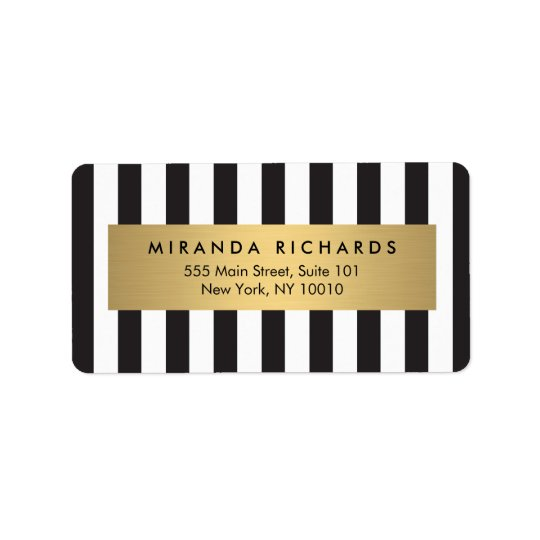 Luxe Bold Black and White Stripes with Gold Bar Label