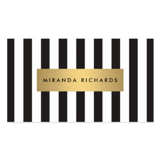 Luxe Bold Black and White Stripes with Gold Bar Pack Of Standard Business Cards