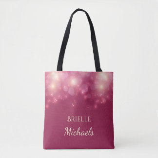 Luxe Dark Pink Glamour Bokeh Sparkles With Name Tote Bag