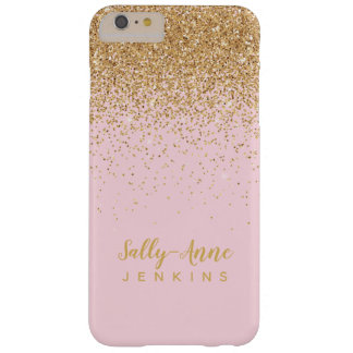 LUXE elegant glamorous gold glitter blush pink Barely There iPhone 6 Plus Case