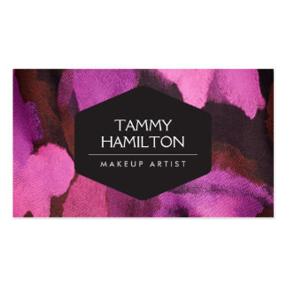LUXE FASHION BLOGGER MAKEUP ARTIST PINK FLORAL BUSINESS CARD TEMPLATE